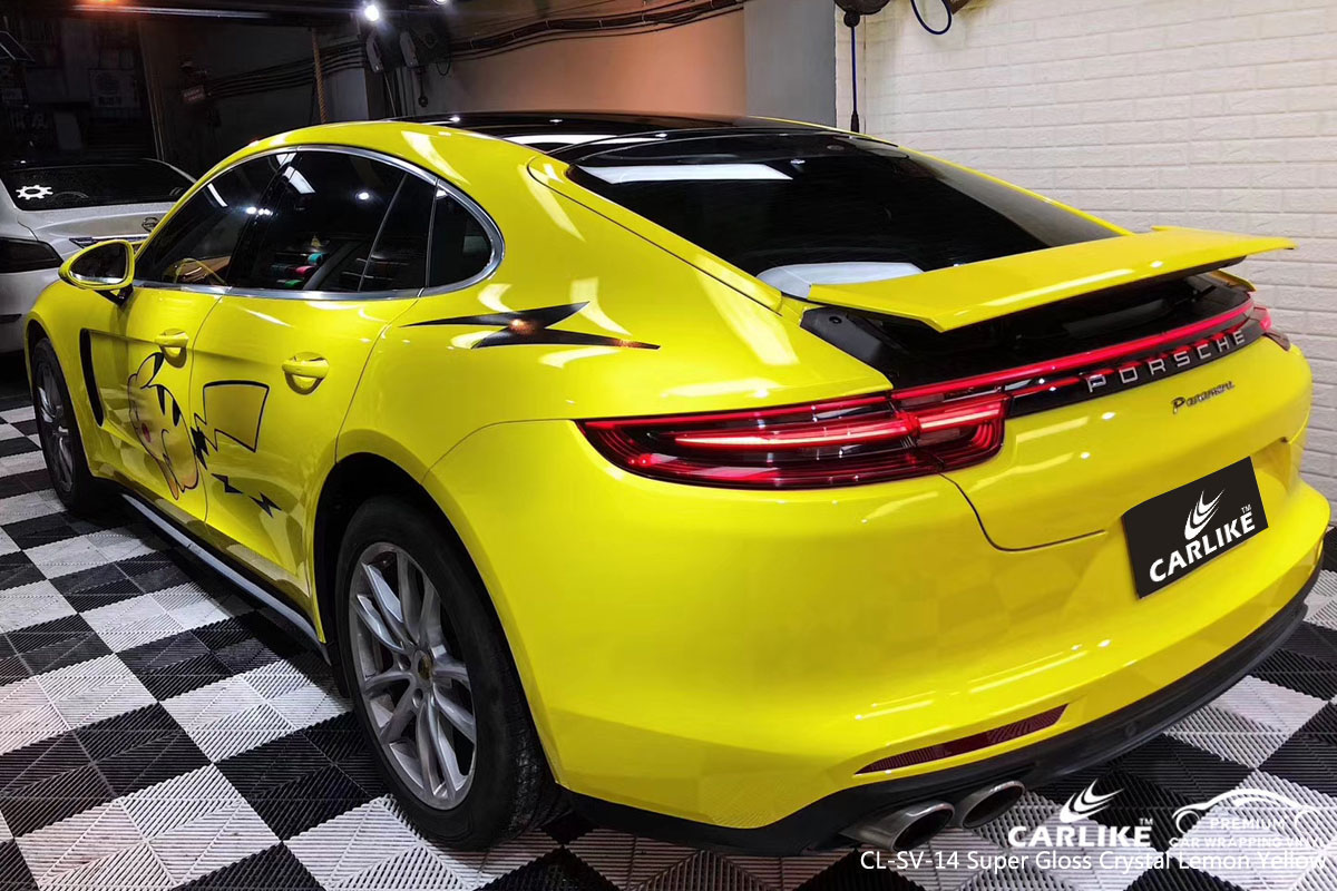 CARLIKE CL-SV-14 super gloss crystal lemon yellow car wrap vinyl for Porsche
