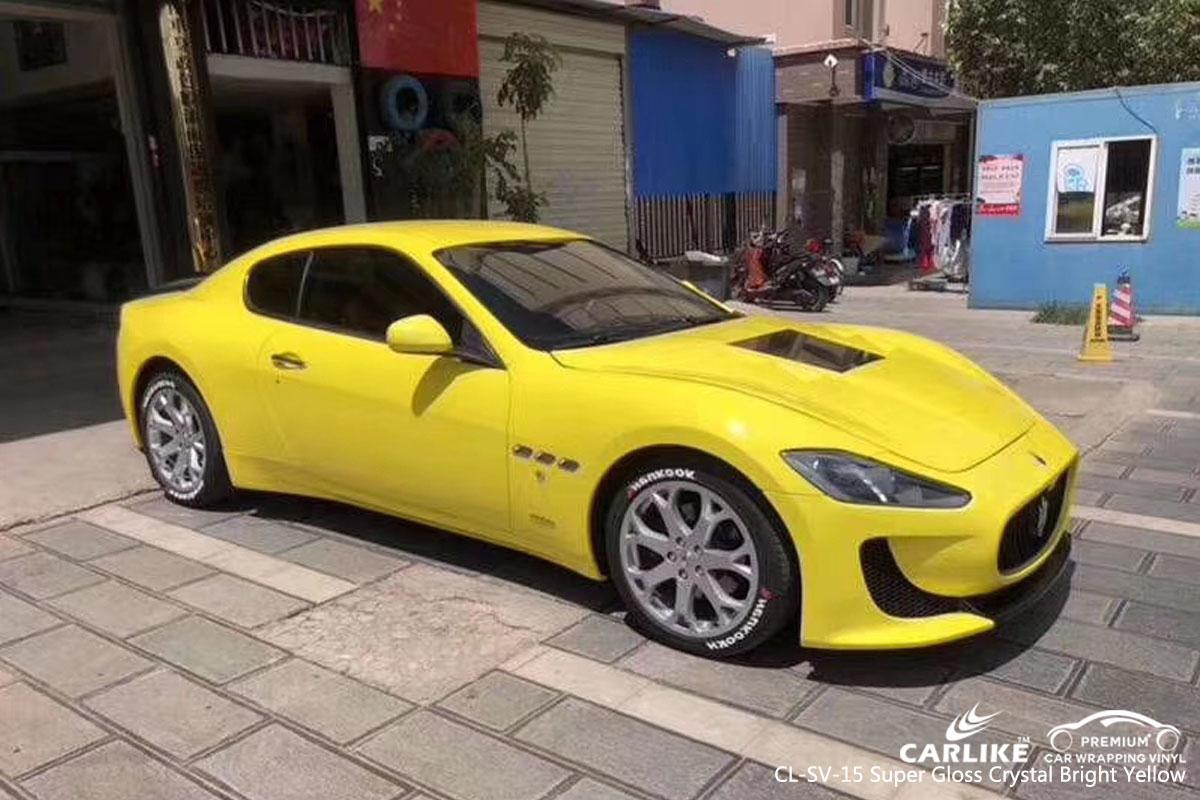 ARLIKE CL-SV-15 super gloss crystal bright yellow car wrap vinyl for Maserati