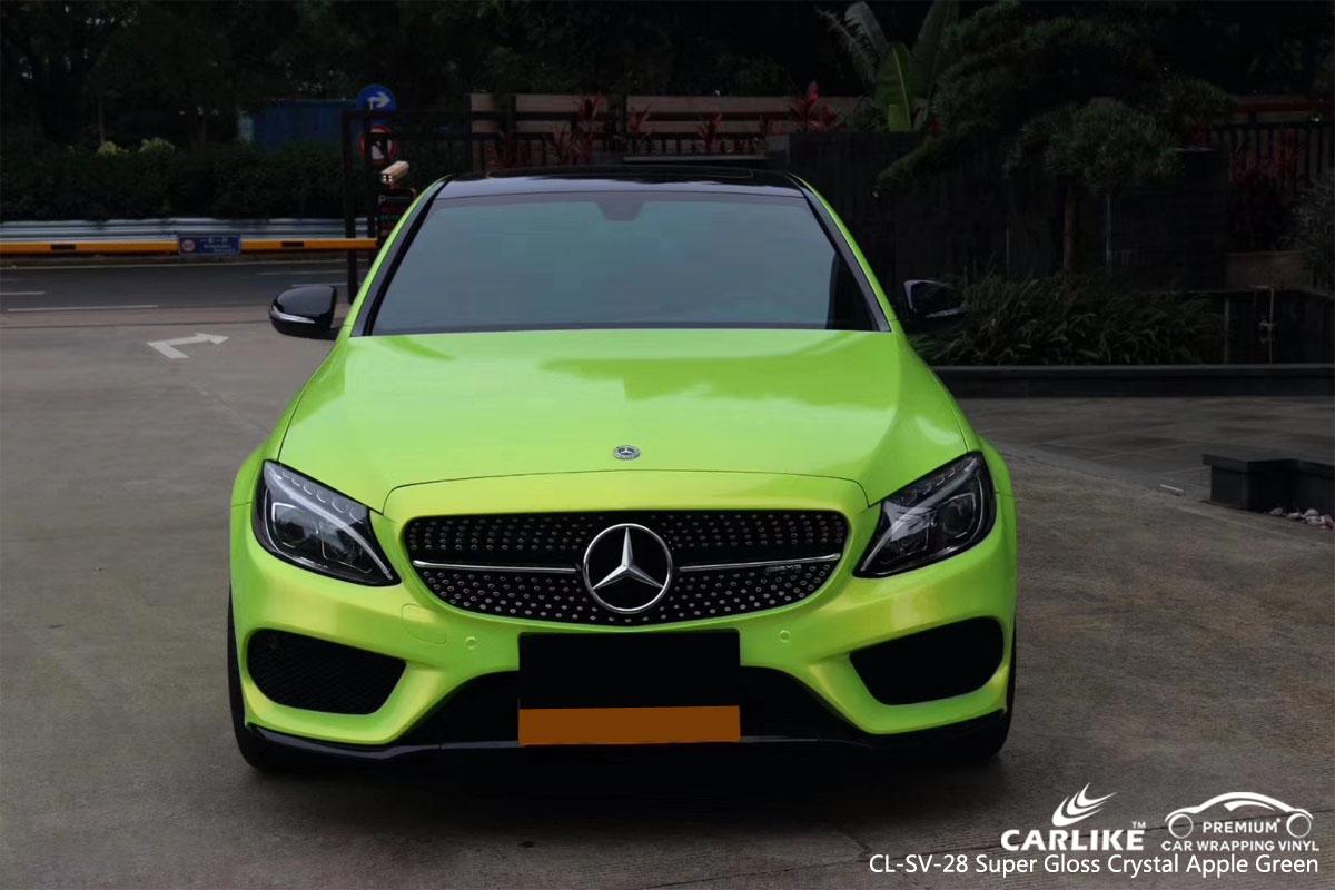 CARLIKE CL-SV-28 super gloss crystal apple green car wrap vinyl for Mercedes-Benz