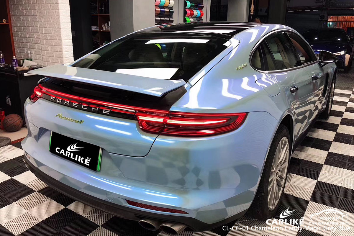 CARLIKE CL-CC-01 chameleon candy magic grey blue car wrap vinyl for Porsche