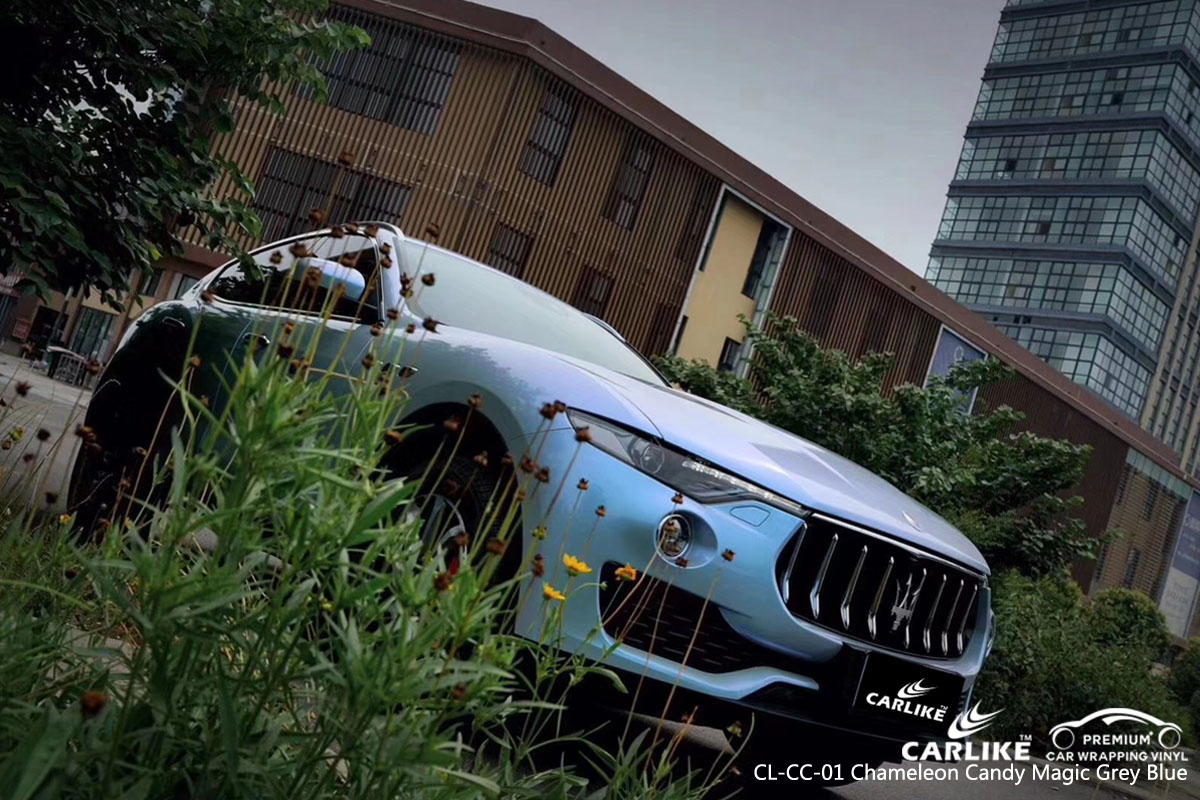 CARLIKE CL-CC-01 chameleon candy magic grey blue car wrap vinyl for Maserati