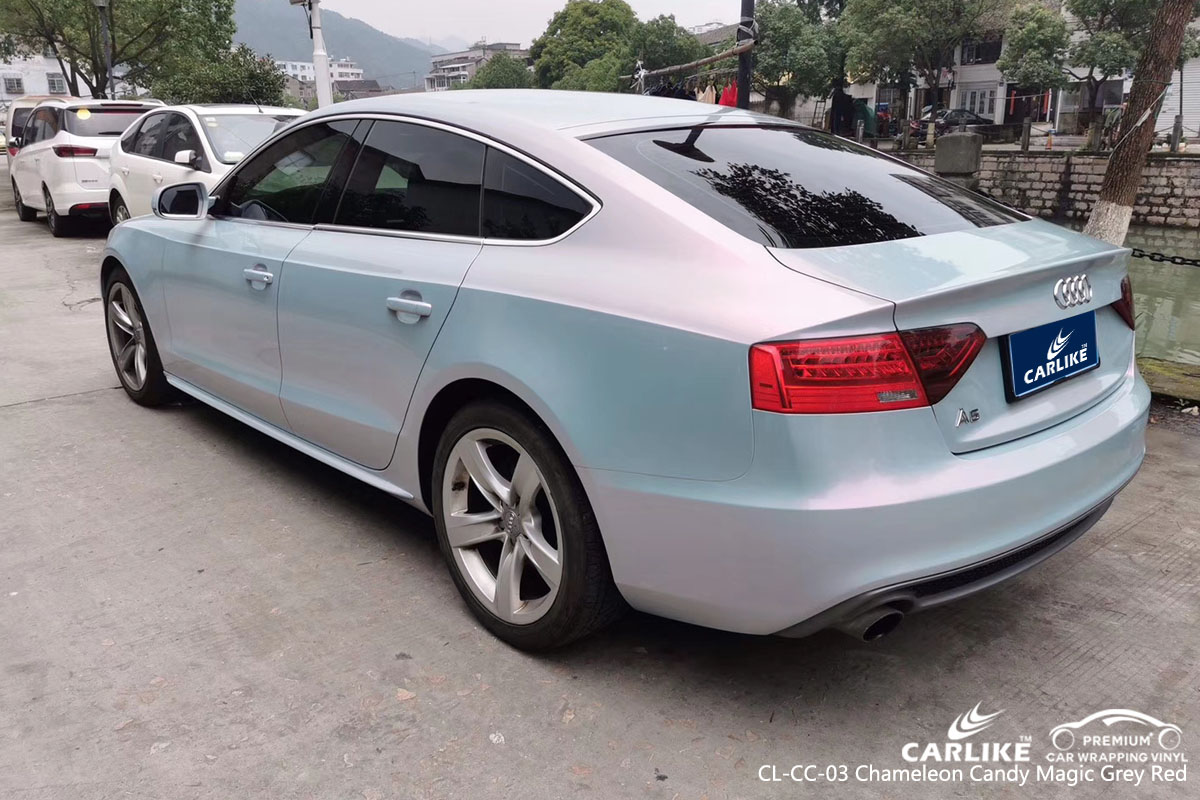 CARLIKE CL-CC-03 chameleon candy magic grey red car wrap vinyl for Audi