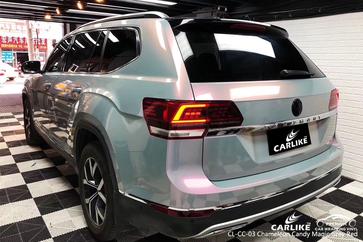 CARLIKE CL-CC-03 chameleon candy magic grey red car wrap vinyl for Volkswagen