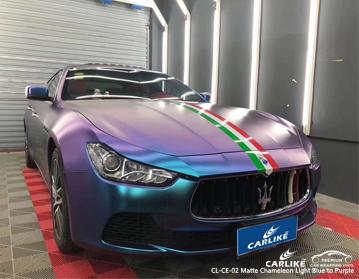 CL-CE-02 vinile avvolgente per auto camaleonte opaco da blu chiaro a viola per Maserati