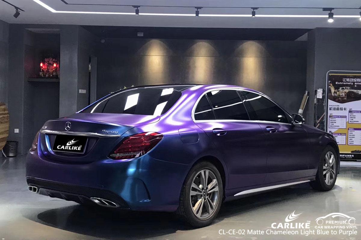 CARLIKE CL-CE-02 matte chameleon light blue to purple car wrap vinyl for Mercedes-Benz