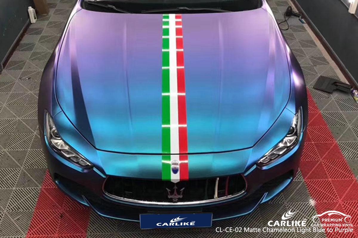 CARLIKE CL-CE-02 matte chameleon light blue to purple car wrap vinyl for Maserati