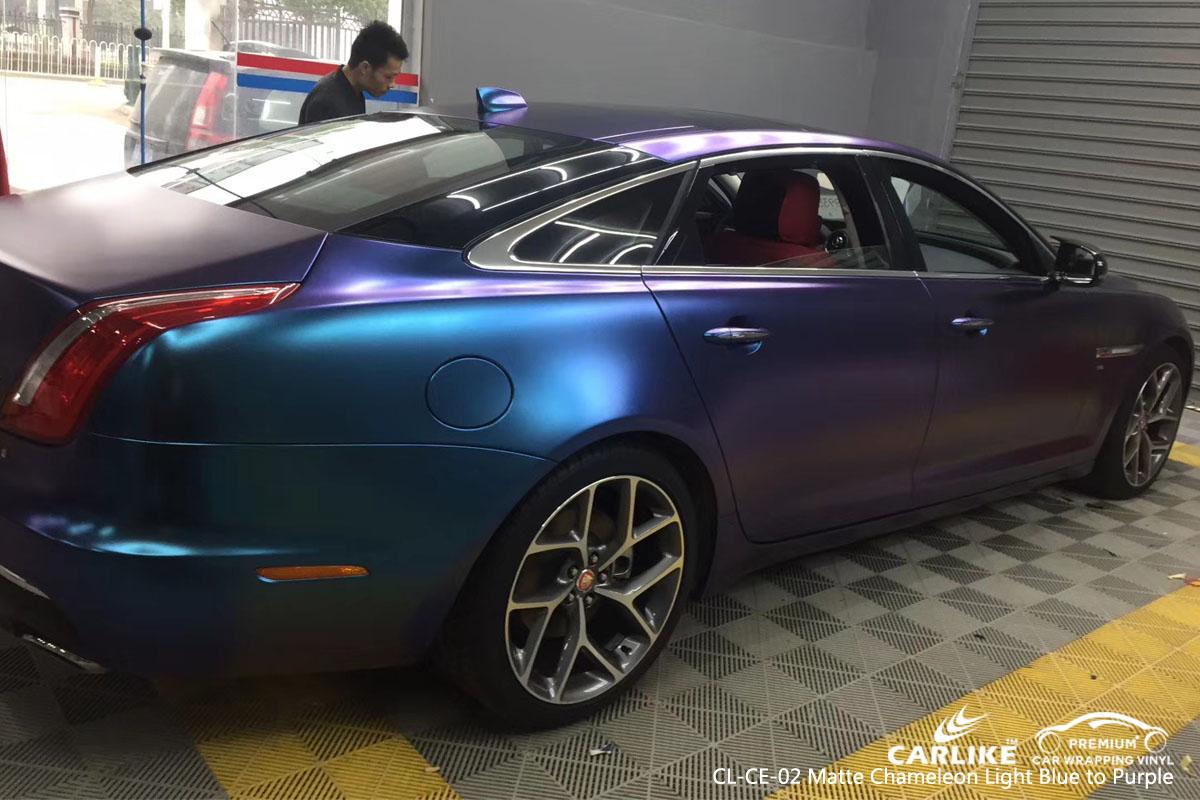CARLIKE CL-CE-02 matte chameleon light blue to purple car wrap vinyl for Jaguar