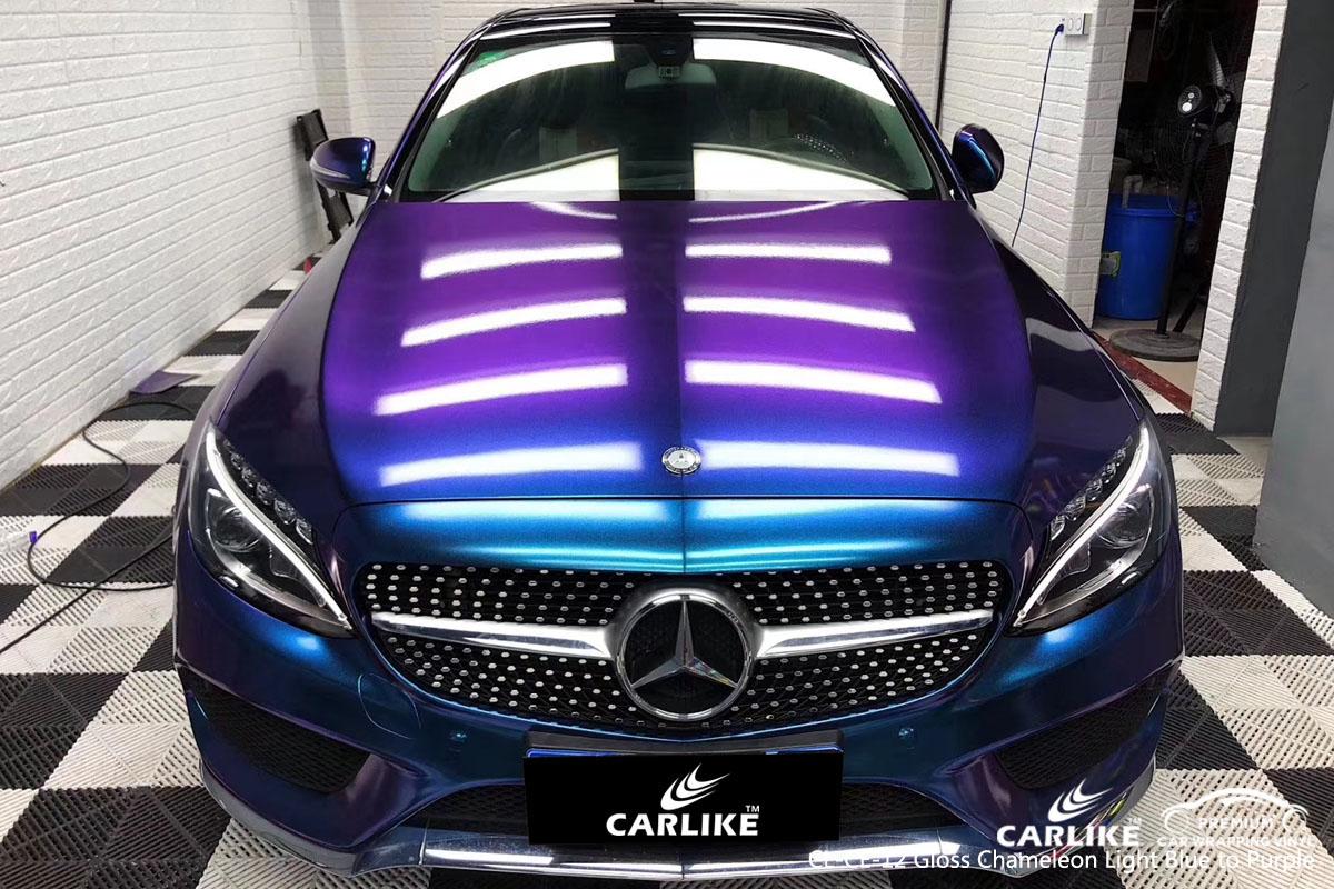 CARLIKE CL-CE-12 gloss chameleon light blue to purple car wrap vinyl for Mercedes-Benz