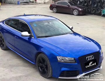 CL-CG-04 vinile dell'involucro dell'automobile blu lucido cromato per Audi