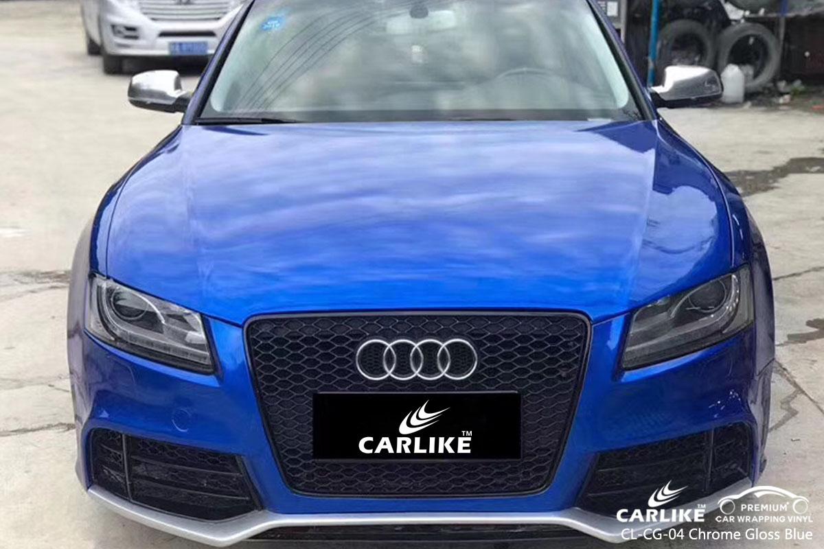 CARLIKE CL-CG-04 chrome gloss blue car wrap vinyl for Audi