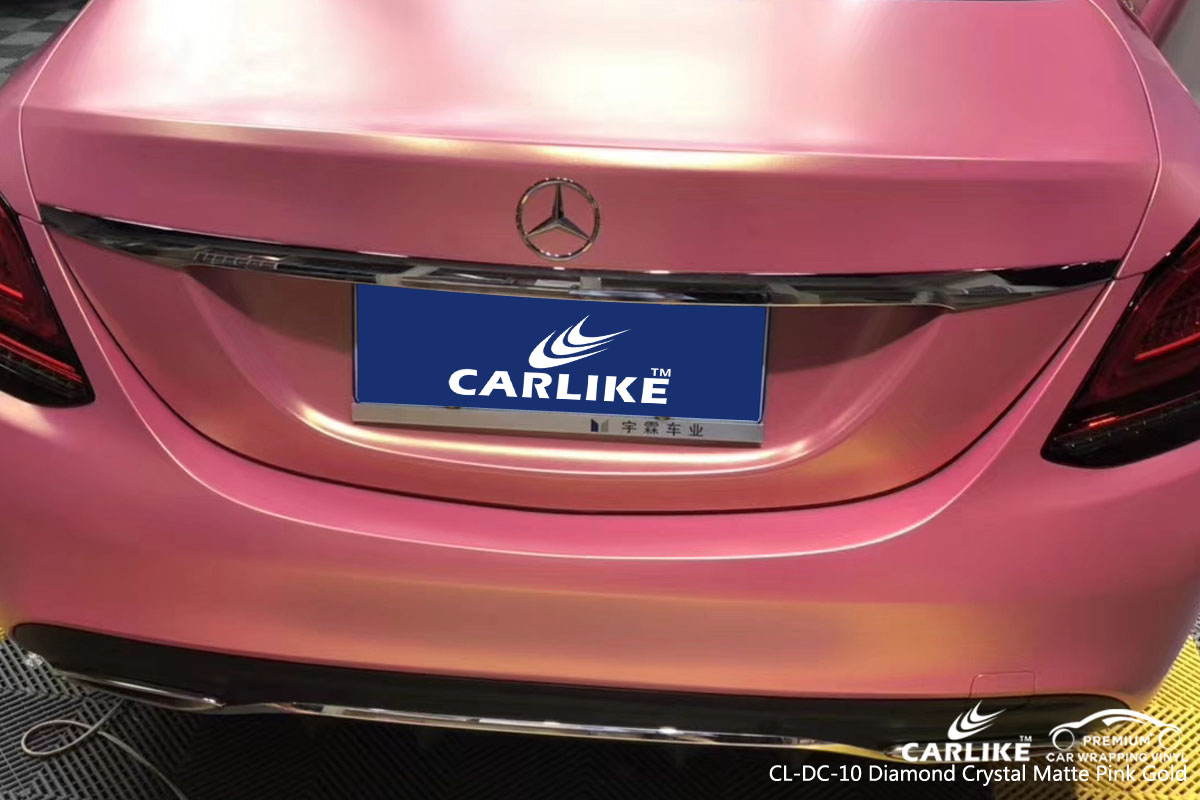 CARLIKE CL-DC-10 diamond crystal matte pink gold car wrap vinyl for Mercedes-Benz