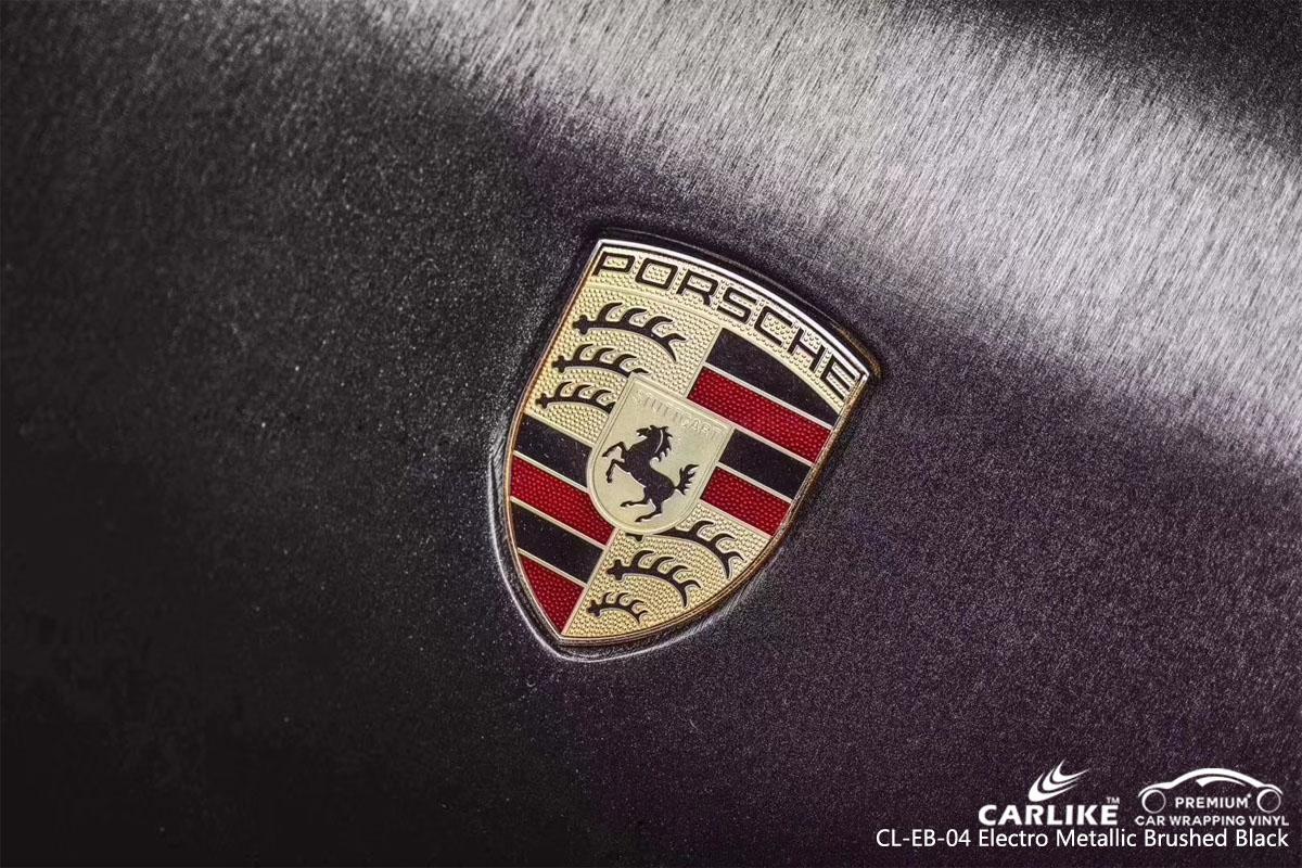 CARLIKE CL-EB-04 electro metallic brushed black car wrap vinyl for Porsche