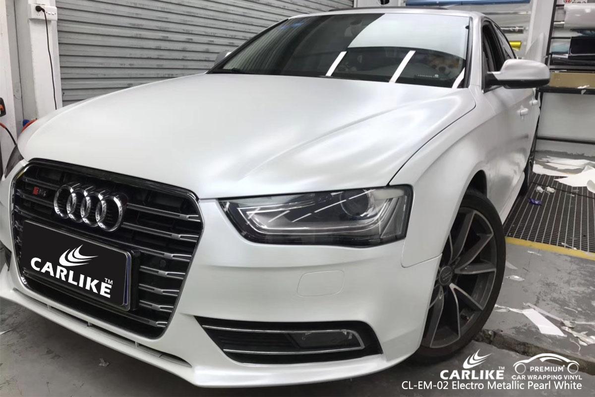 CARLIKE CL-EM-02 electro metallic pearl white car wrap vinyl for Audi