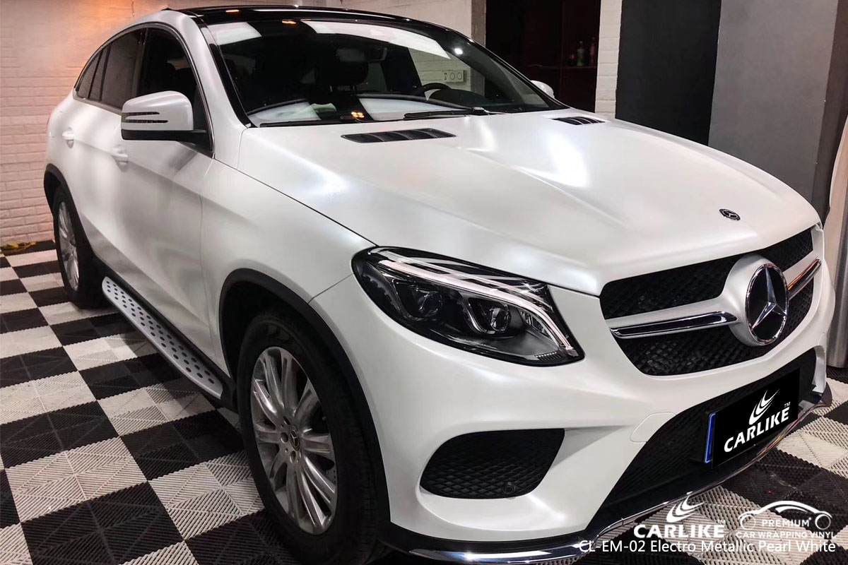 CARLIKE CL-EM-02 electro metallic pearl white car wrap vinyl for Mercedes-Benznz