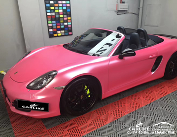 CARLIKE CL-EM-10 electro metallic pink car wrap vinyl for Porsche