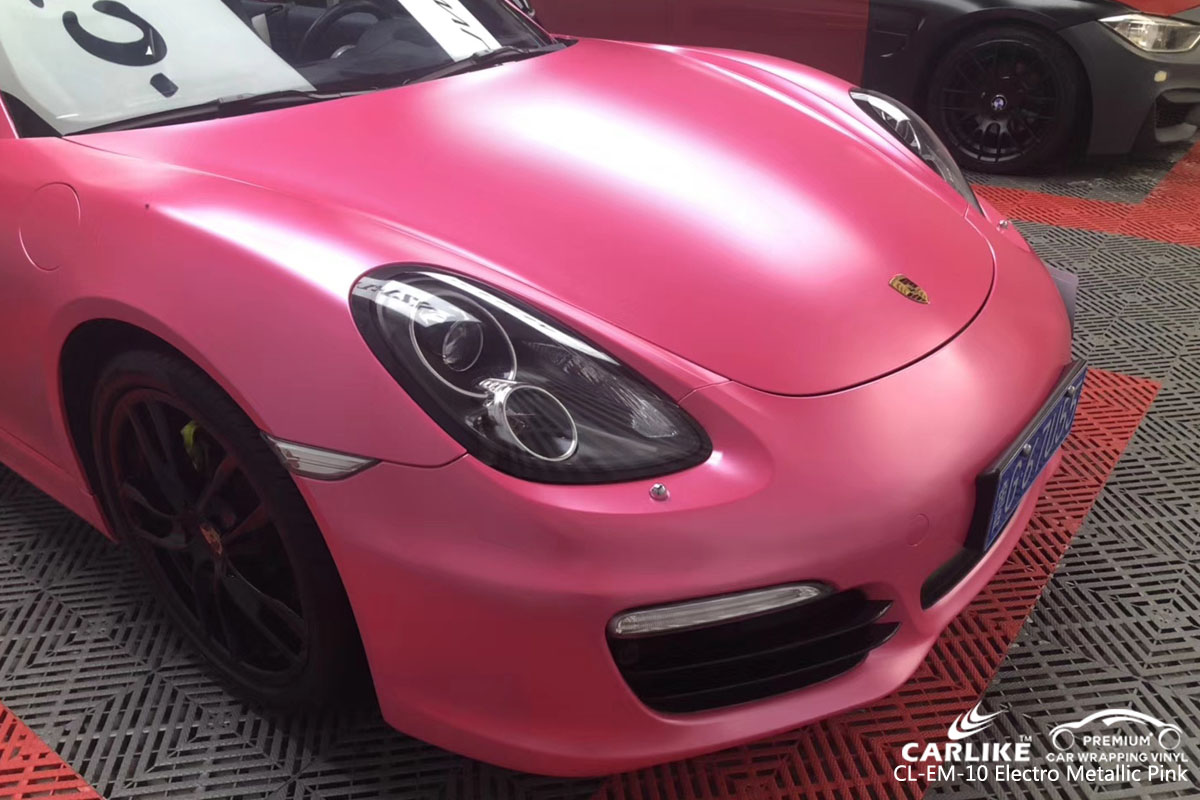 CARLIKE CL-EM-10 electro metallic pink car wrap vinyl for Porsche