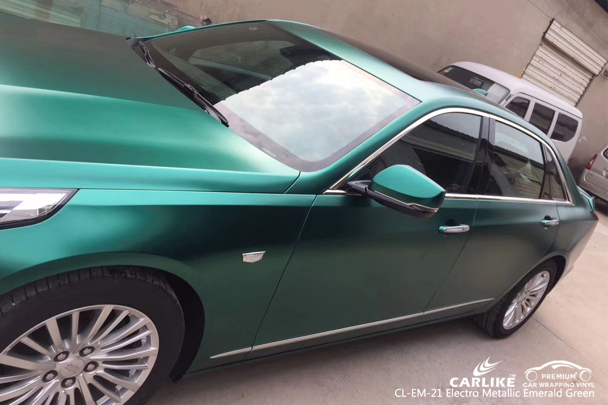 CARLIKE CL-EM-21 electro metallic emerald green car wrap vinyl for Cadillac