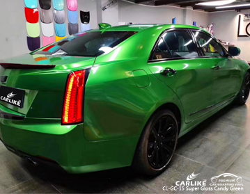 CARLIKE CL-GC-15 super gloss candy green car wrap vinyl for Cadillac