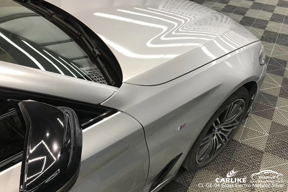 CARLIKE CL-GE-04 gloss electro metallic silver car wrap vinyl for BMW