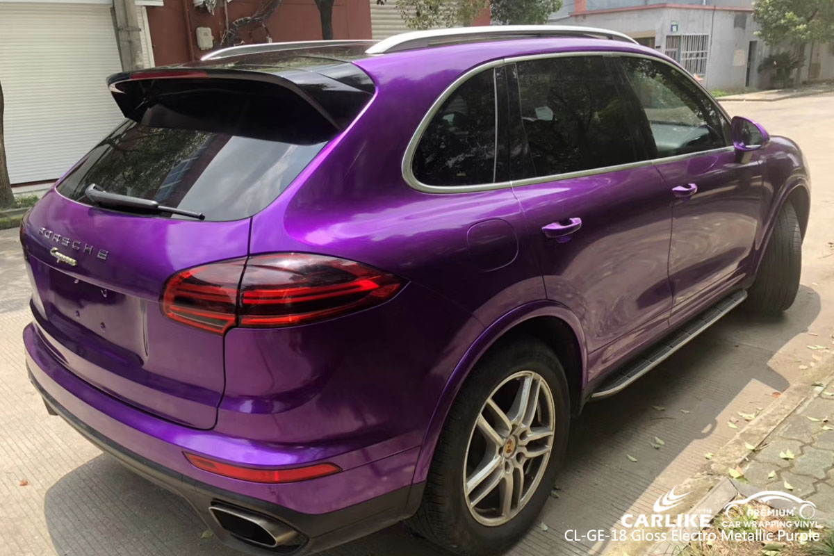 CARLIKE CL-GE-18 gloss electro metallic purple car wrap vinyl for Porsche