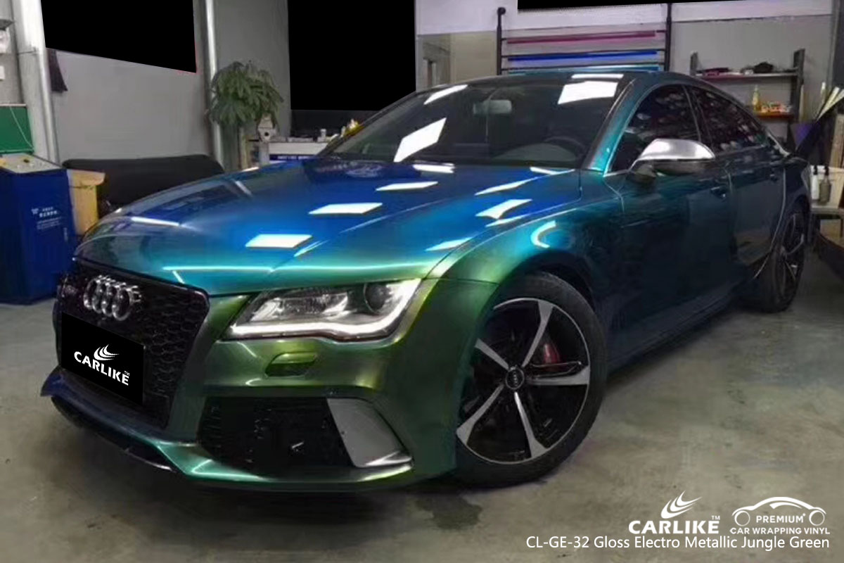 CARLIKE CL-GE-32 gloss electro metallic jungle green car wrap vinyl for Audi