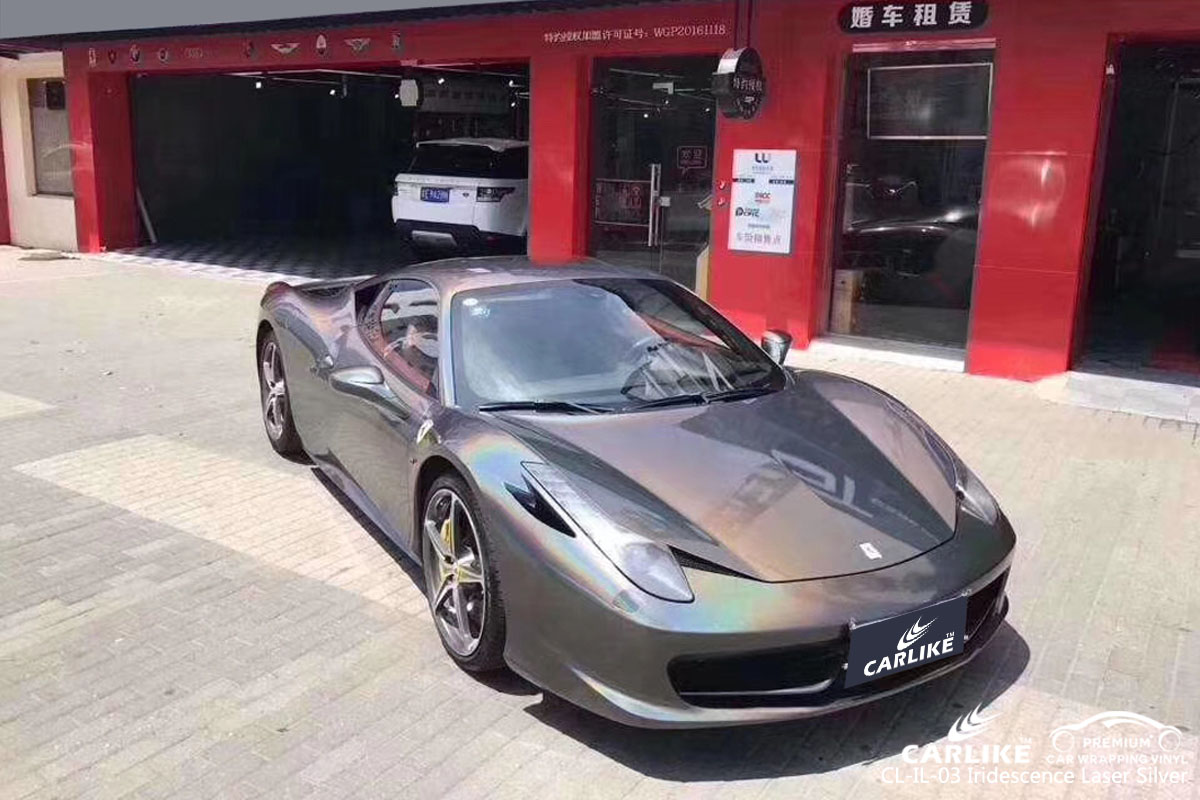 CARLIKE CL-IL-03 iridescence laser silver car wrapping vinyl for Ferrari