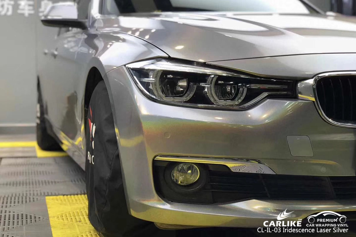 CARLIKE CL-IL-03 iridescence laser silver car wrapping vinyl for BMW
