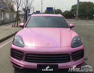 CARLIKE CL-IL-08 iridescent laser pink car wrap vinyl for Porsche