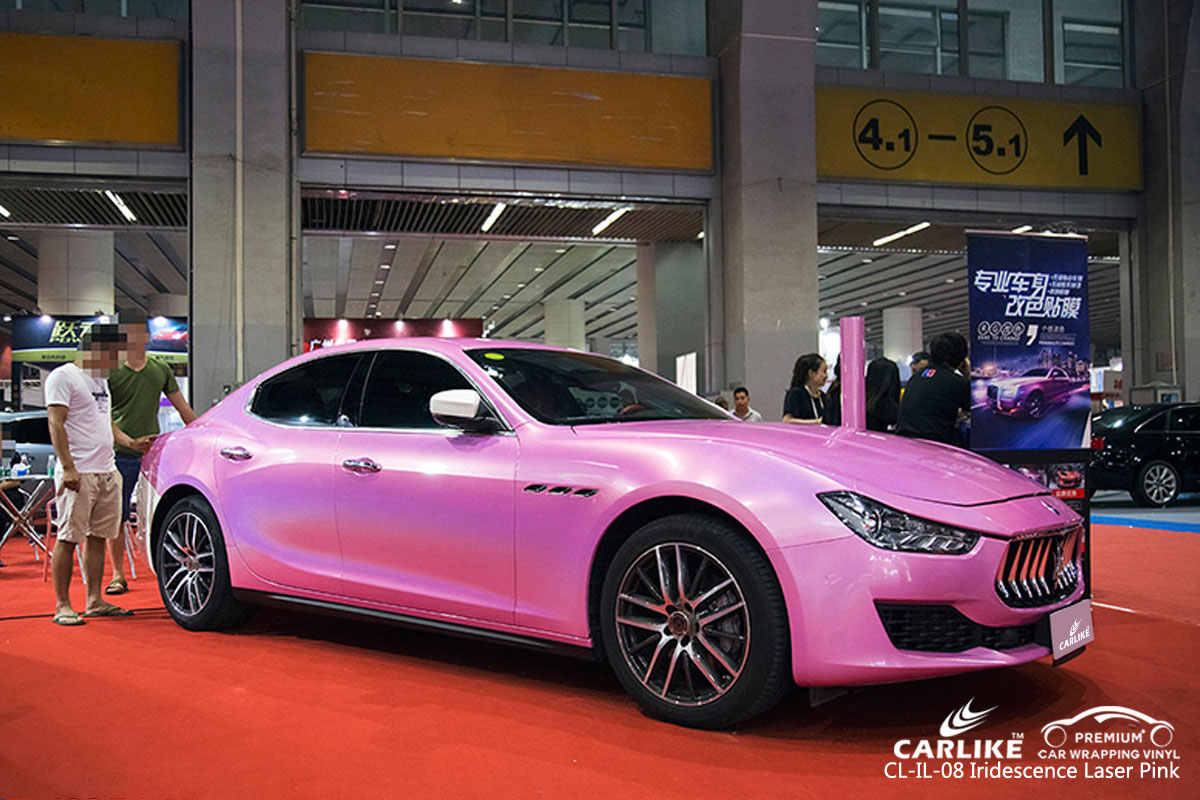 CARLIKE CL-IL-08 iridescent laser pink car wrap vinyl for Maserati