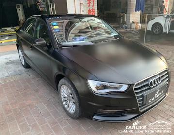 CARLIKE CL-MS-01 super matte satin black car wrap vinyl for Audi
