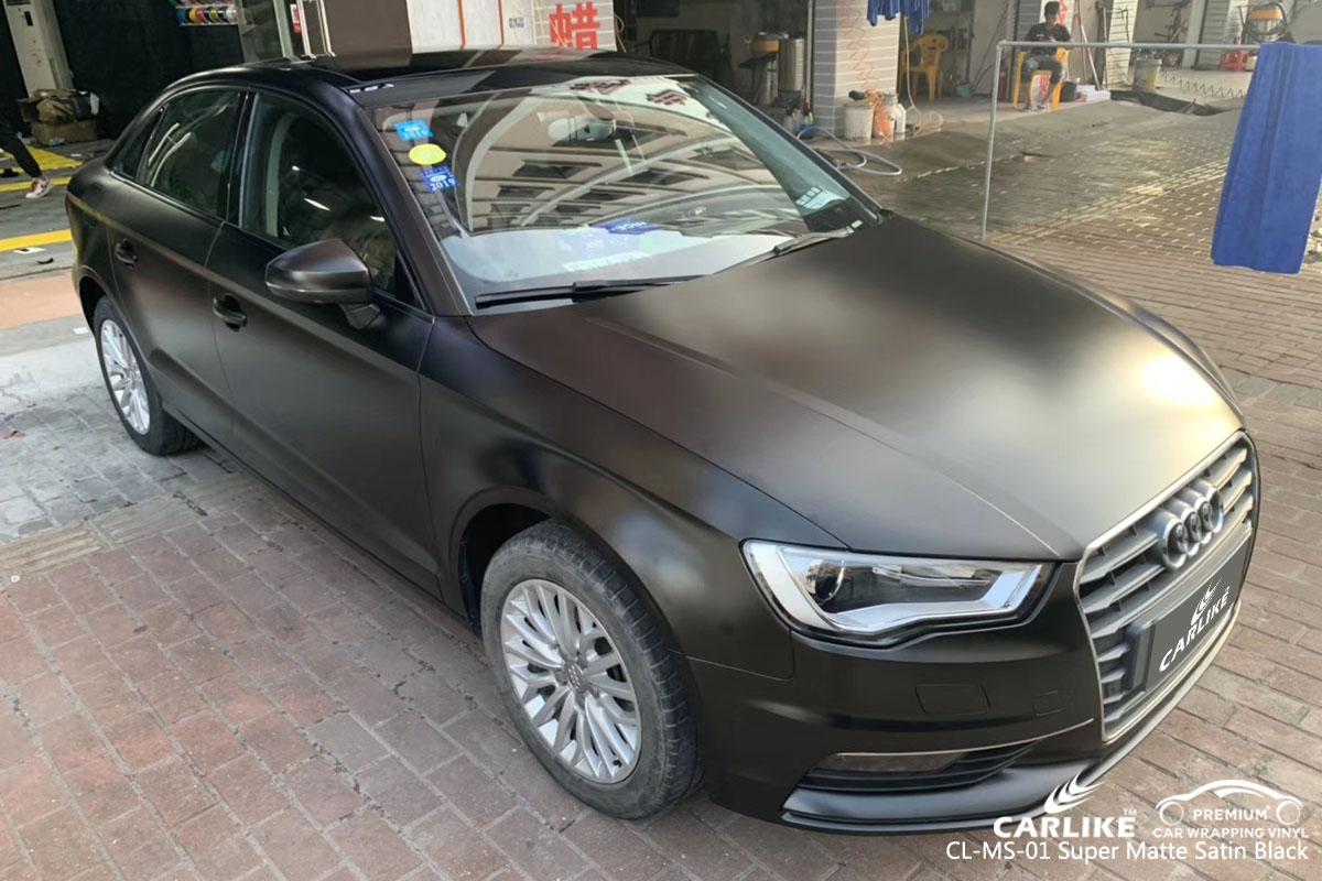 CARLIKE CL-MS-01 super matte satin black car wrap vinyl for Audi