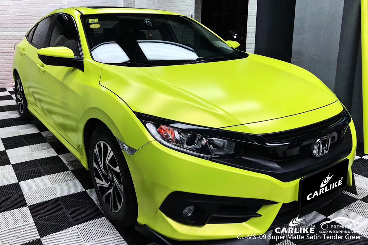 CARLIKE CL-MS-09 super matte satin tender green car wrap vinyl for Honda