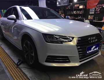 CARLIKE CL-MW-01 gloss magic white to gold car wrap vinyl for Audi