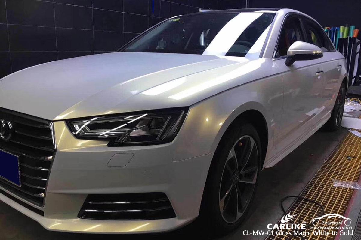 CARLIKE CL-MW-01 gloss magic white to gold car wrap vinyl for Audi