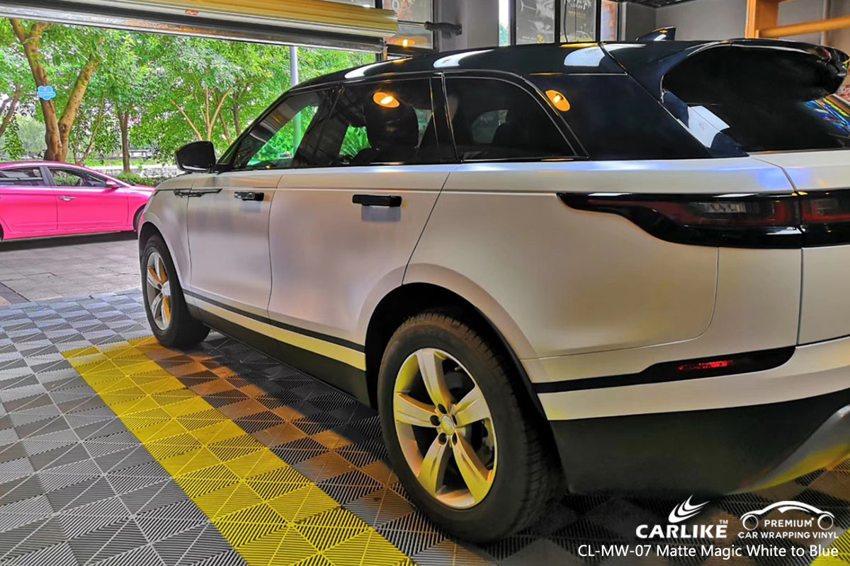 CARLIKE CL-MW-07 matte magic white to blue car wrap vinyl for Land Rover