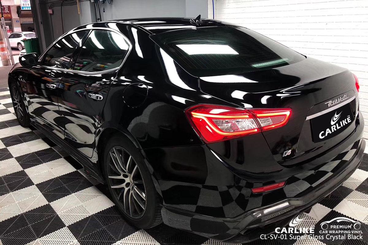 CARLIKE CL-SV-01 super gloss crystal black car wrap vinyl for Maserati