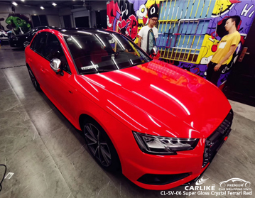 CARLIKE CL-SV-06 super gloss crystal ferrari red car wrap vinyl for Audi