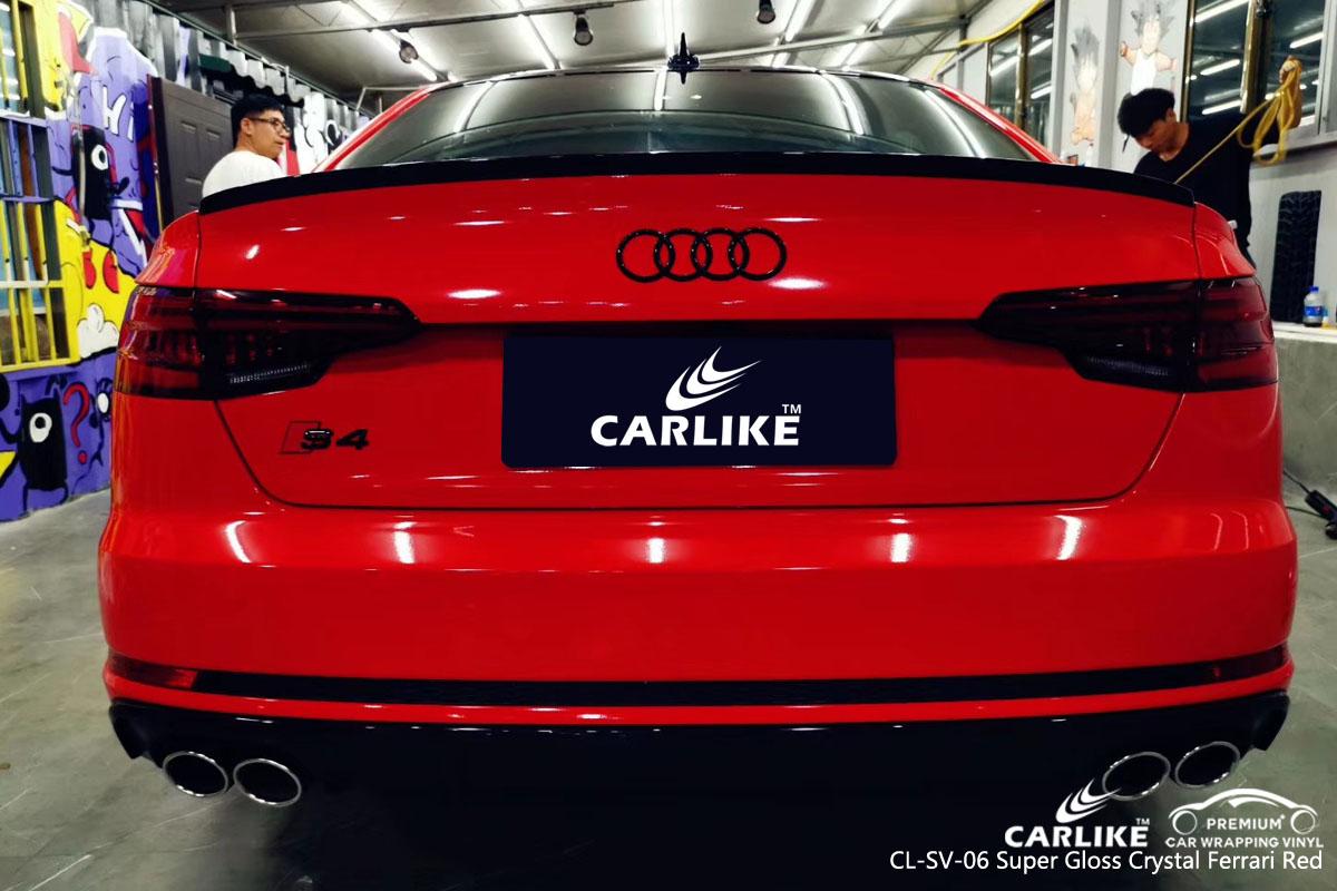 CARLIKE CL-SV-06 super gloss crystal ferrari red car wrap vinyl for Audi