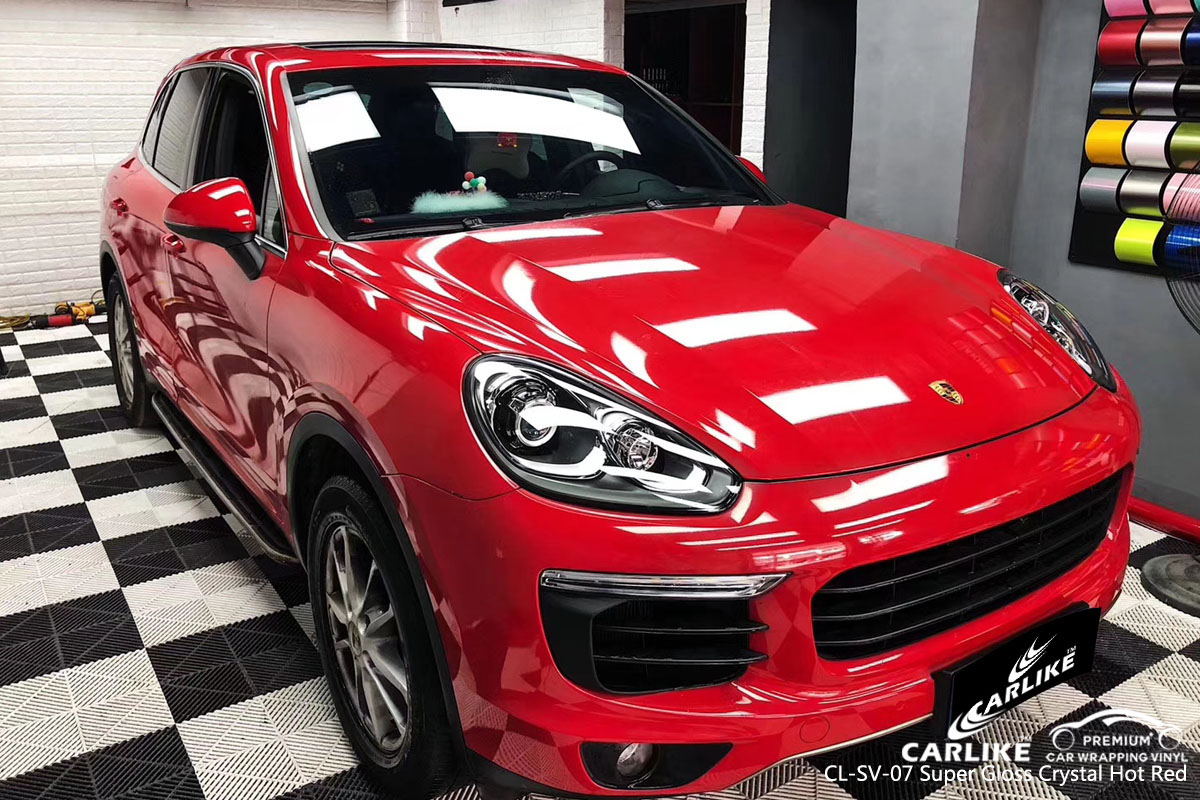 CARLIKE CL-SV-07 super gloss crystal hot red car wrap vinyl for Porsche