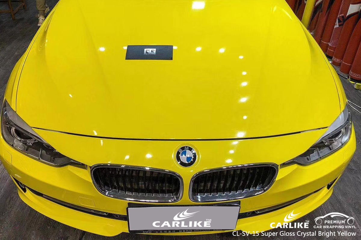 CARLIKE CL-SV-15 super gloss crystal bright yellow car wrap vinyl for BMW