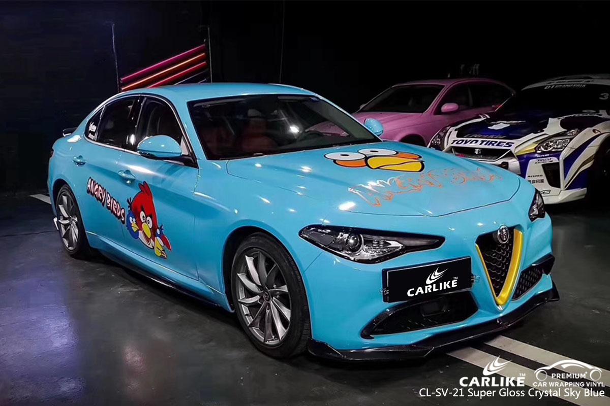CARLIKE CL-SV-21 super gloss crystal sky blue car wrap vinyl for Alfa Romeo
