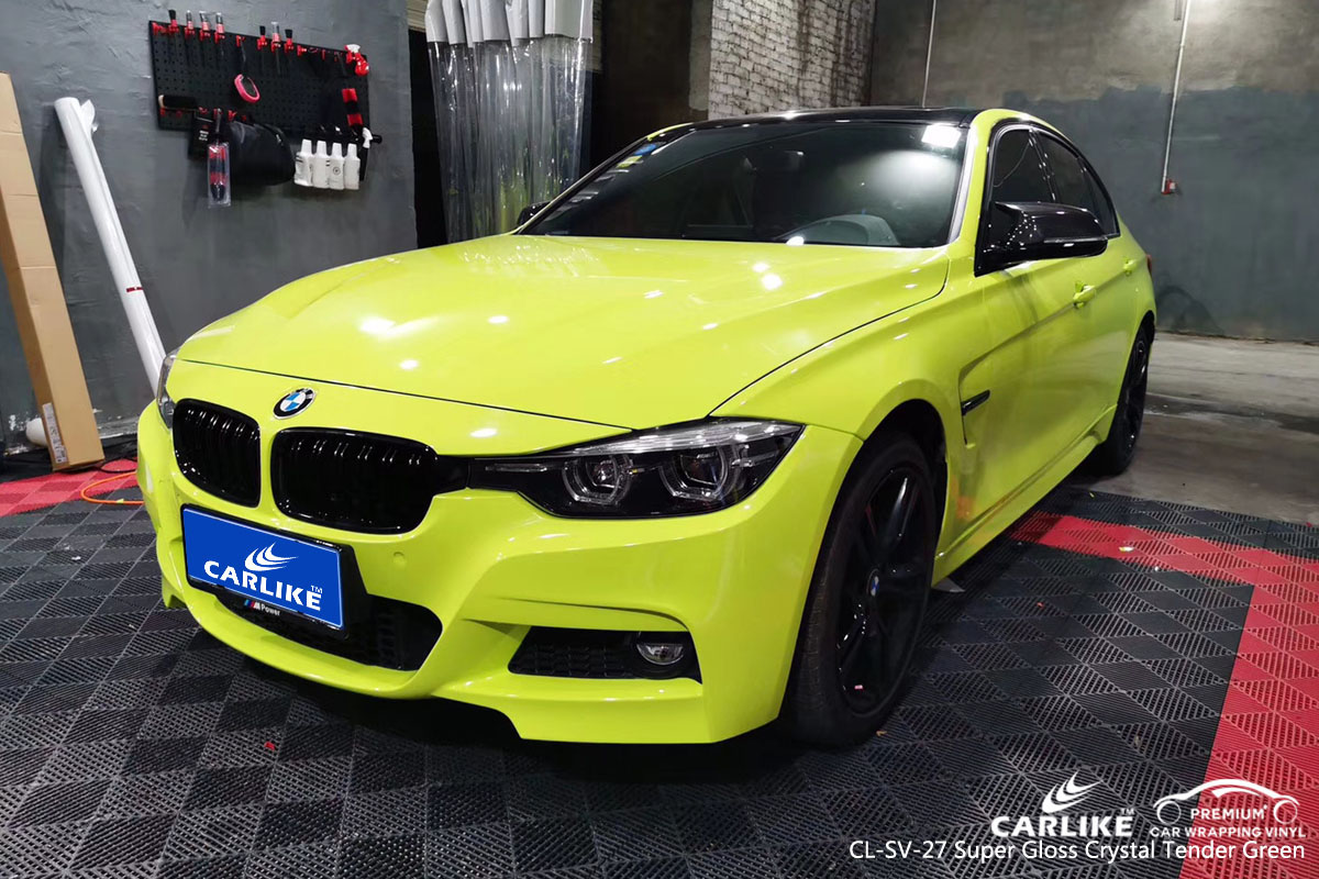 CARLIKE CL-SV-27 super gloss crystal tender green car wrap vinyl for BMW
