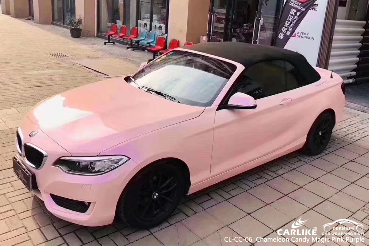 CARLIKE CL-CC-06 chameleon candy magic pink purple car wrap vinyl for BMW