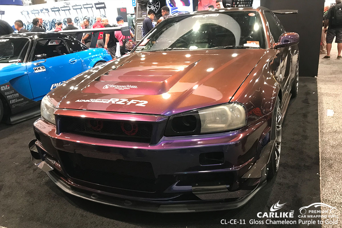 CARLIKE CL-CE-11 gloss chameleon purple to gold car wrapping vinyl