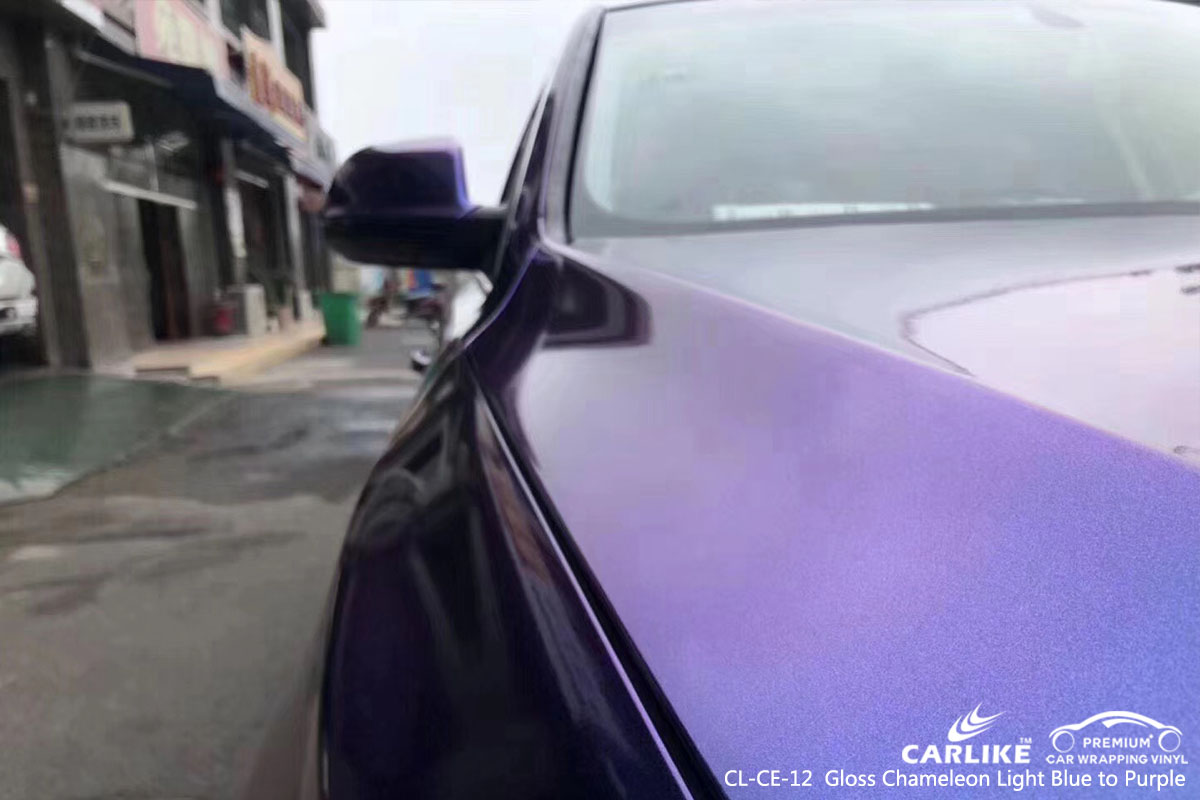 CARLIKE CL-CE-12 gloss chameleon light blue to purple car wrap vinyl for Audi