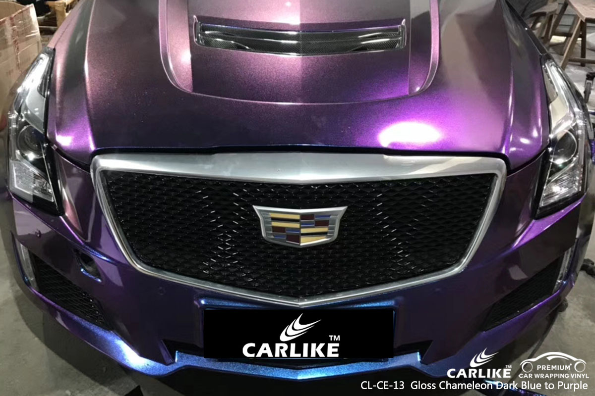 CARLIKE CL-CE-13 gloss chameleon dark blue to purple car wrap vinyl for Cadillac