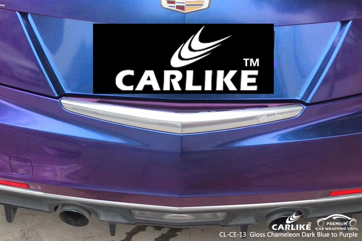 CARLIKE CL-CE-13 gloss chameleon dark blue to purple car wrap vinyl for Cadillac
