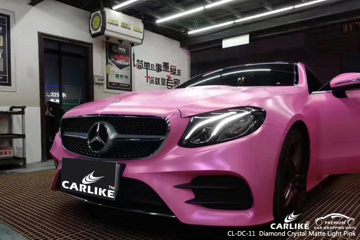CARLIKE CL-DC-11 diamond crystal matte light pink car wrap vinyl for BMW
