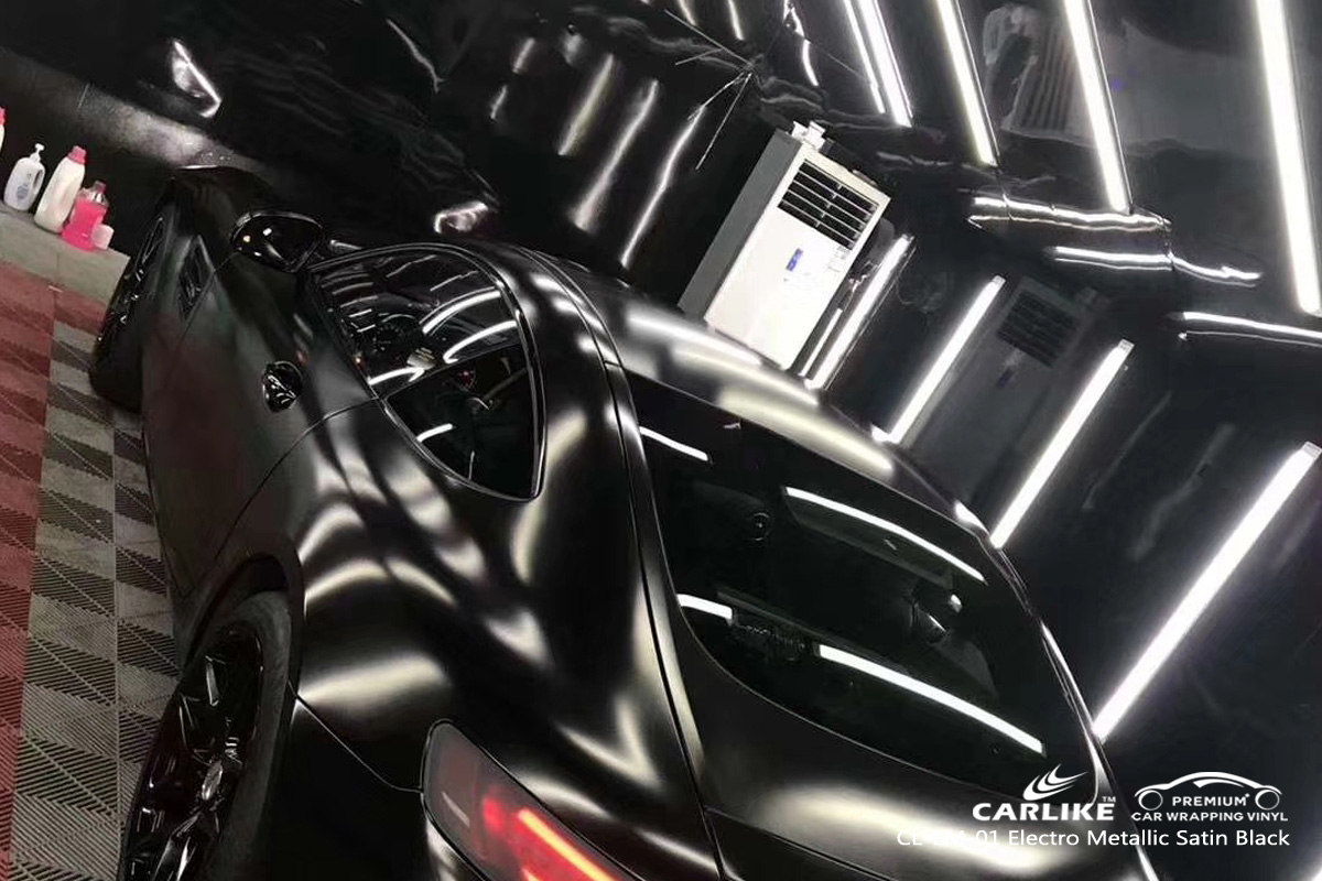 CARLIKE CL-EM-01 electro metallic satin black car wrap vinyl for Mercedes-Benz