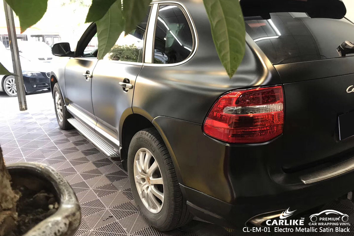 CARLIKE CL-EM-01 electro metallic satin black car wrap vinyl for Porsche